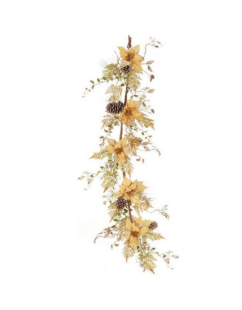 Gold glitter poinsettia garland 6ft mark roberts marketplace for 5ft poinsettia garland christmas decoration