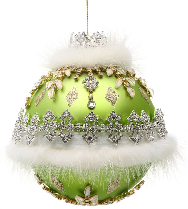 Ivory Floral Jeweled Ornament 36-60262