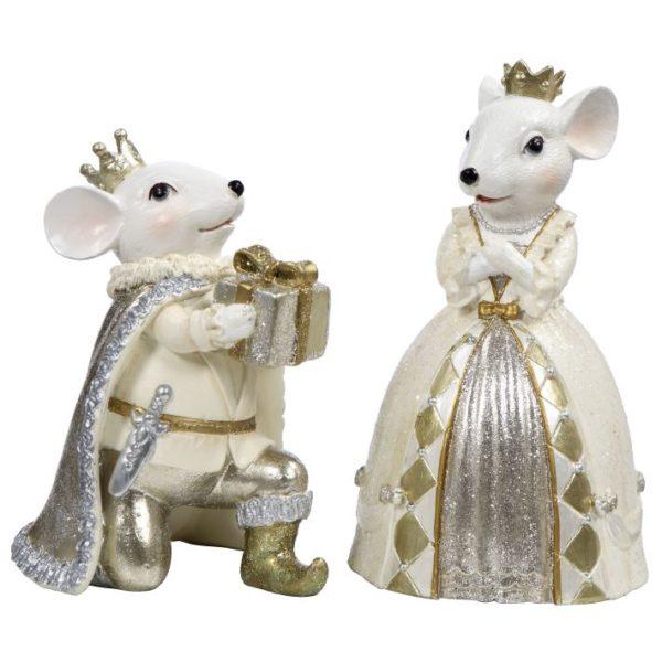Royal Mouse Couple Kneeling w Gift